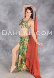 SILKEN MEADOWS in Lime, Turquoise and Gold by Designer Rising Stars, Egyptian Belly Dance Costume