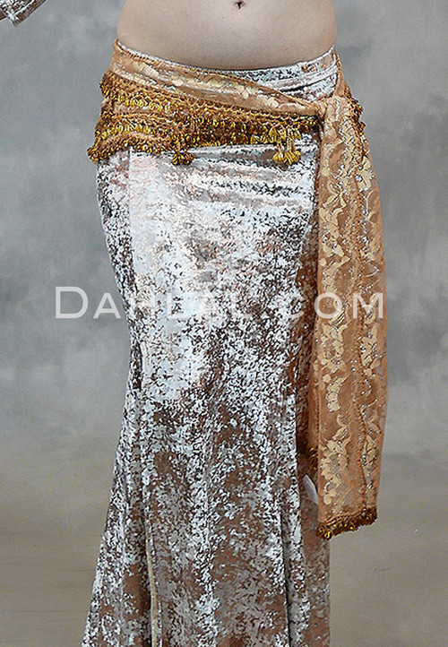 gold lace beaded hip scarf