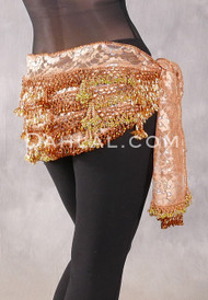Beaded 3-Row Egyptian Lace Hip Scarf, 10 Colors Available
