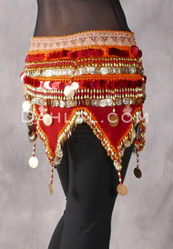 Ethnic Printed Teardrop Wave Wrap with Coins and Paillettes