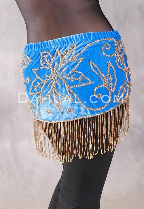 Egyptian Velvet Fringe Benefits Hip Scarf, Style 3 - Turquoise and Gold