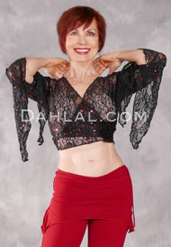 SAQQARA Sequin Stretch Lace Wrap Top, Size Small