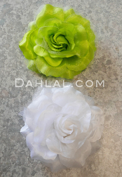white and lime hair flower