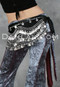 Black and Silver Nile Velvet Wave Coin Hip Scarf