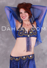 OUT OF THE BLUE in Royal Blue and Gold by Designer Rising Stars, Egyptian Bellydance Costumes