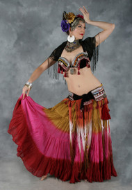 TRIBAL TASSEL Bra and Belt Set in Black, Wine and Multicolor in a Bra Size #4, for Belly Dance