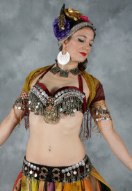 Tribal Coin Fringe Belt in Burgundy and Silver,  for Belly Dance