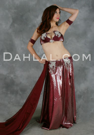 DESERT ROSE in Bordeaux and Silver by Designer Hoda Zaki, Egyptian Belly Dance Costume