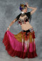 Gold, Fuchsia and Wine Gradient Tribal Belly Dance Skirt