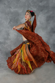 EXTRA FULL FOUR TIER JAIPUR SKIRT, for Belly Dance