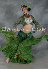Green Jaipur Tribal Skirt for Belly Dance