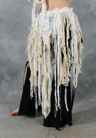 RETRO LACE FRINGE BELT in Antique White and Cream, for Belly Dance