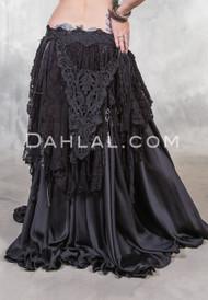 RETRO LACE FRINGE BELT in Black, for Belly Dance