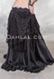 Black Retro Lace Fringe Belt with Gilded Lily Black Satin Skirt