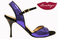 MONA ELECTRICO in Electric Blue Metallic Leather and Black Suede Tango Shoe in Size 37, from LUNATANGO