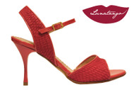 MONA DIOR in Deep Pink Engraved Suede & Patent Tango Shoe in Size 37, from LUNATANGO