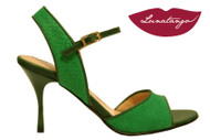 MONA VERDE in English Green Engraved Leather Tango Shoe in Size 37, from LUNATANGO