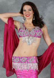 CAIRO CLASSIC Bra and Belt Set in Hot Pink and Silver, by Designer Rising Stars, Egyptian Belly Dance Costume