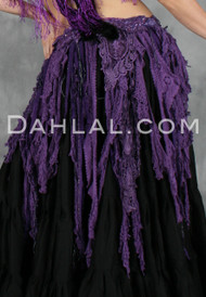 Purple Retro Lace Fringe Tribal Belt
