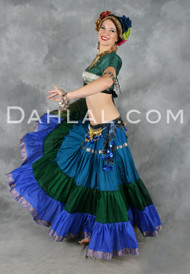 EXTRA FULL TIERED GRADIENT SKIRT OF Recycled Silk Sari Fabric