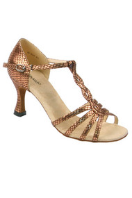 SAMIA Scorpion Style in Bronze Scale Leather, Size 7.5, from STEPHANIE Ballroom Dance Shoes