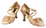 Professional Latin Dance Shoe in Golden Tan Satin in Size 9.5, from Stephanie Dance Shoes
