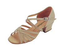NARIMAN Low Heeled, Multi-strap Design in Tan Leather in Size 6, from STEPHANIE Ballroom Dance Shoes