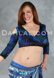 PEACOCK Lightweight Lycra Mock Wrap Top by Off The Nile