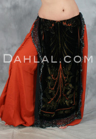 Velvet Beaded Panel Skirt by Off The Nile, for Belly Dance
