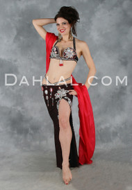 AKILA in Black, Red and Silver by Designer Sultan's Secrets, Egyptian Belly Dance Costume