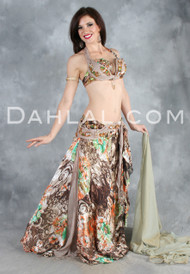CAPTURED PERFECTION II in Beige, Green, Copper and Gold by Designer Eman Zaki, Egyptian Belly Dance Costume