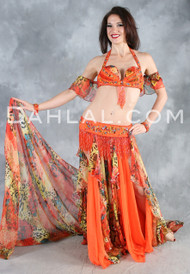 BEAUTY'S VISION in Orange, Gold and Multicolor by Designer Pharaonics of Egypt, Available for Custom Order