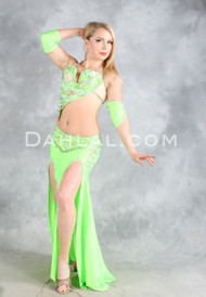 LIMELIGHT in Lime Green and Silver, by Designer Rising Stars, Egyptian Belly Dance Costume