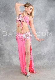 FLIRTY FLORALS in Hot Pink and Silver, by Designer Rising Stars, Egyptian Belly Dance Costume