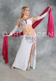 ICE DIAMONDS in White, Silver, Red, Fuchsia and Green, by Designer Rising Stars, Egyptian Belly Dance Costume