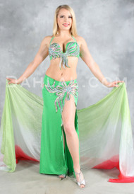 SPRING FEVER in Green, Silver and Red, by Designer Rising Stars, Egyptian Belly Dance Costume