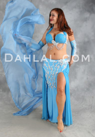 QUEEN OF THE NILE in Blue and Silver, Bra Size B-B/C, by Designer Eman Zaki of Egypt