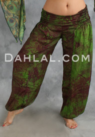 Lace Up Tie Dyed Silk Harem Pant