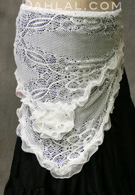 Lace belly dance hip wrap hip scarf with flower.
