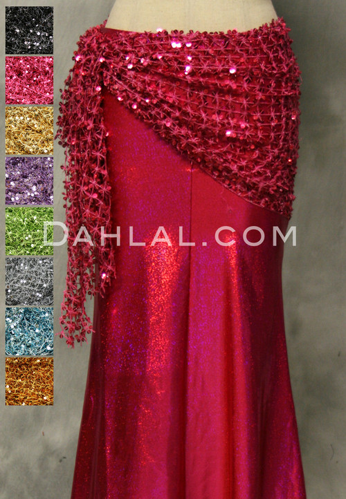 OASIS Sequined Mesh Hip Wrap In Brick for Belly Dance