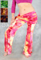 Belly dance pants with attached hip scarf for tribal, cabaret or practice