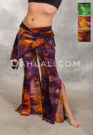 RADIANT GALAXY Velvet Tie-Dye Cairo Pant with Hip Wrap, by Off The Nile