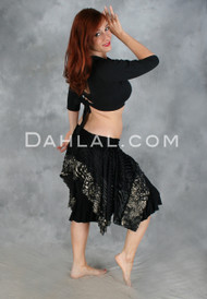 Edgy urban gypsy boho hip wrap hip scarf with ruffles for tribal belly dance.