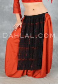 Lace panel skirt with elastic waist for belly dance.