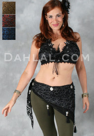 Metallic Lace Halter Top and Matching Lace Hip Scarf