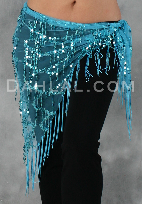 Sequined Mesh Glitter Hip Scarf in Turquoise