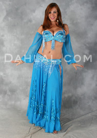 EXTRAVAGANCE Ensemble in Turquoise by Pharaonics of Egypt, Bra Size C #4,  Egyptian Belly Dance Costume