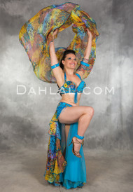 BEAUTY'S VISION in Turquoise and Multicolor, Bra Size B/C #3, by Designer Pharaonics of Egypt, Egyptian Belly Dance Costume