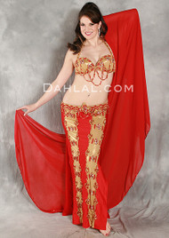 EFFORTLESS INTRIGUE in Red and Gold, Bra size B #2, by Pharaonics of Egypt, Egyptian Belly Dance Costume