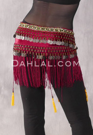 burgundy Hazara tribal belt back view